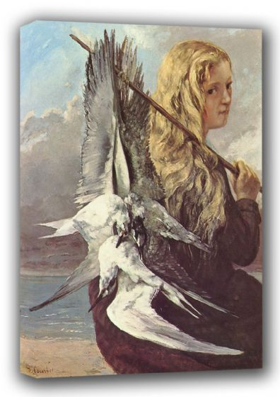 Courbet, Gustave: Girl with Seagulls. Fine Art Canvas. Sizes: A3/A2/A1 (001043)